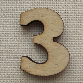Деревянная цифра «Тройка», декор для творчества