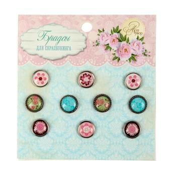 Набор брадсов для скрапбукинга «Цветочное ассорти» набор 10 шт.