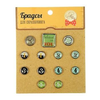 Набор брадсов для скрапбукинга «Время» набор 13 шт.