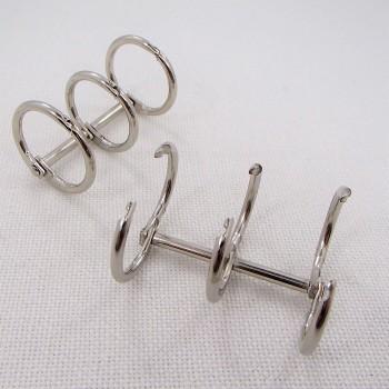 Кольцо разъемное тройное, 25мм ,  цвет «никель», 1 шт.