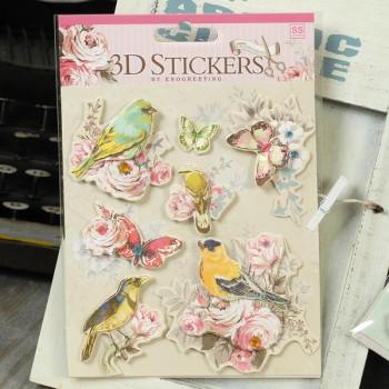 Набор 3d-стикеров для скрапбукинга «Цветы и птицы»