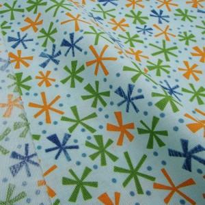 Ткань 100% хлопок, «Цветные снежинки», отрез 50х55 см.