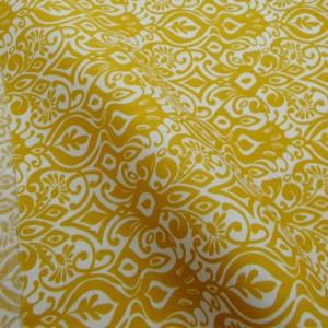 Ткань 100% хлопок, «Бело-горчичный орнамент», отрез 50х55 см.