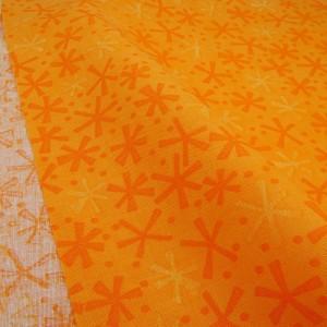Ткань 100% хлопок, «Оранжевые снежинки», отрез 50х55 см.