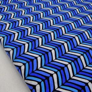 Ткань 100% хлопок, «Бело-синий шеврон», отрез 50х75 см.