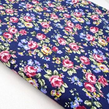 Ткань для рукоделия «Пасторальные цветы. Синий»,  отрез 50х70 см.