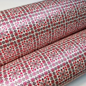 Подарочная бумага «Красно-черный орнамент», 49х75 см., 1 лист
