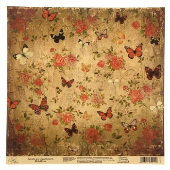 Бумага Арт Узор «Бабочки в саду», 29,5х29,5 см., 1 лист